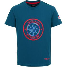 TROLLKIDS Windrose T-Shirt Enfant, Bleu pétrole